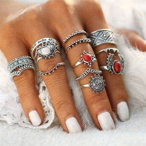 Jewelry - 14 Piece Silver & Red Boho Ring Set 🌈